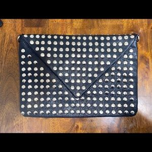 Street Level faux leather silver studded clutch
